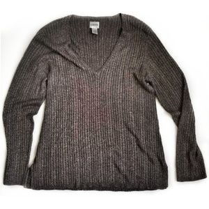 Chico's  Metallic Cable Knit V-Neck Pullover (sw1)